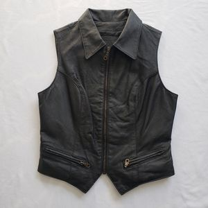 VTG Leather Vest motorcycle collar leather ranch
